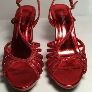 Silver Slipper Elsa Red Sparkle Heels Red Size 8M
